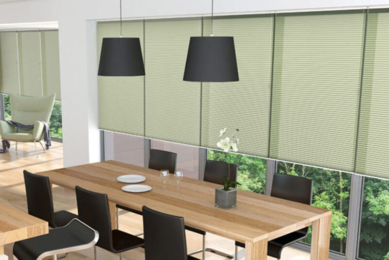 pleated blinds green