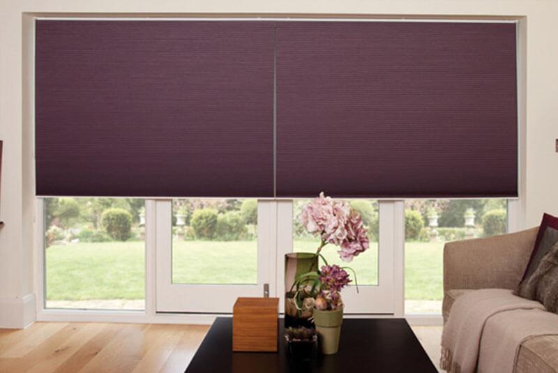 pleated blinds purple